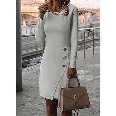 Solid Mâneci Lungi Manşon Până la Genunchi Elegant Elbiseler