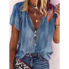 твердый V шеи С коротким рукавом Повседневная джинсы Блузы