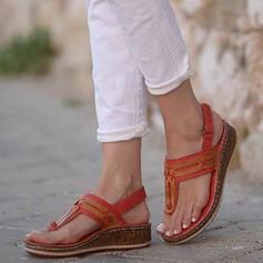 De mujer PU Tipo de tacón Sandalias Cuñas Encaje Chancletas con Color sólido zapatos