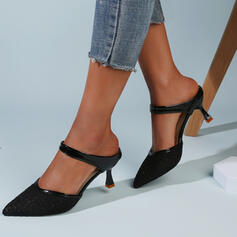 De mujer Tela Malla Tacón chupete Sandalias Salón Cerrados Pantuflas Dedo del pie puntiagudo con Agujereado Color sólido zapatos