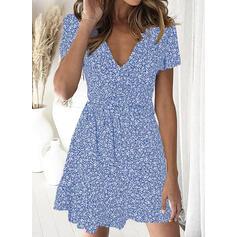 Print/Floral Short Sleeves A-line Above Knee Casual/Elegant Dresses