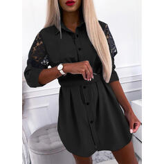 Lace/Solid Long Sleeves Sheath Above Knee Little Black/Casual Shirt Dresses