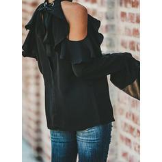 Jednobarevný Odhalená Ramena Rozšířený rukáv Dlouhé rukávy Neformální Bluze