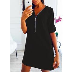 Solid Mâneci Lungi De schimb Deasupra Genunchiului Negre/Casual Tunică Elbiseler