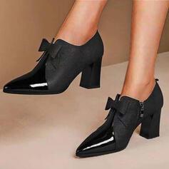 Női PU Chunky sarok Magassarkú Sarok -Val Csokornyakkendő Szolid szín cipő