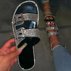 Women's Leatherette Sparkling Glitter Flat Heel Sandals Flats Peep Toe Slippers With Rhinestone Buckle shoes