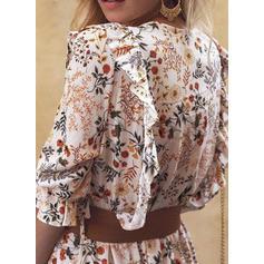 Nadrukowana/Kwiatowy Rękawy 3/4 W kształcie litery A Łyżwiaż Casual/Elegancki Midi Sukienki