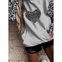 Leopard Beaded Heart Pockets Long Sleeves Hoodie