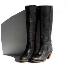 Mulheres PU Salto robusto Botas Bota no joelho com Fivela sapatos