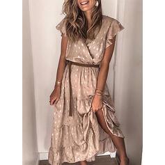 Print Short Sleeves A-line Casual Midi Dresses