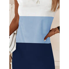 Color-block Krátké rukávy Splývavé Nad kolena Elegantní Šaty