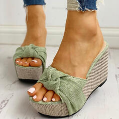 Women's PU Wedge Heel Sandals Wedges Peep Toe Slippers With Bowknot shoes