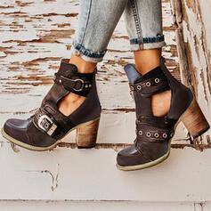 Mulheres PU Salto robusto Bombas Fechados Botas Martin botas com Rivet Fivela sapatos