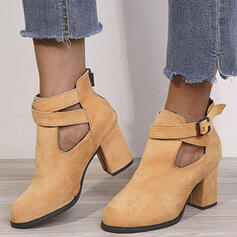 Mulheres Camurça Salto robusto Toe rodada com Fivela Zíper Cor sólida sapatos