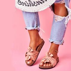 Dla kobiet Zamsz Płaski Obcas Sandały Plaskie Otwarty Nosek Buta Kapcie Z Kokarda obuwie