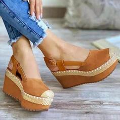 Танкетка Сандалии клинья Peep Toe Каблуки Круглый носок с пряжка Сплошной цвет обувь