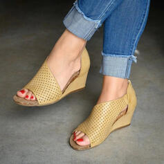 Women's PU Wedge Heel Sandals Wedges Peep Toe With Zipper Hollow-out shoes