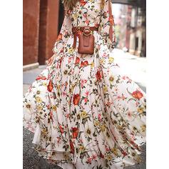 Print/Floral Long Sleeves/Split Sleeve A-line Skater Casual/Elegant Maxi Dresses
