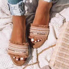 Kvinnor Konstläder Flat Heel Sandaler Tofflor med Tofs skor