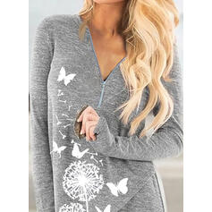 Animal Print Dandelion V-Neck Long Sleeves Casual Blouses