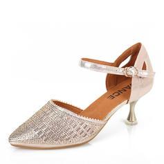 Mulheres Balé Latino sapatos de personagem Sandálias Couro sapatos de personagem