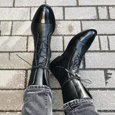 Mulheres PU Salto robusto Bota no tornozelo com Aplicação de renda sapatos