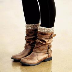 Женский PU Плоский каблук ботинки Полусапожки Зимние ботинки с пряжка обувь