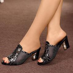 Donna Pelle microfibra Tacco basso Sandalo Ciabatte con Paillette scarpe