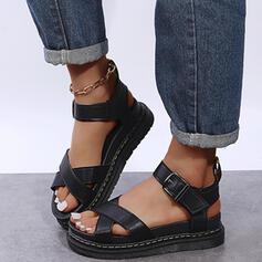 Женский PU Плоский каблук Сандалии Платформа Peep Toe с пряжка Выдолбить обувь