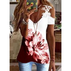 Imprimeu Renkli klişe Floral Dantel Soğuk omuz Mâneci Scurte Soğuk omuz kılıfı gündelik Bluzlar