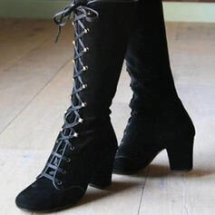 Női Műbőr Chunky sarok Mid-Calf Csizma Kerek lábujj -Val Szolid szín cipő
