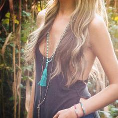 Hermoso De moda Exótico Los granos de madera con Borlas De mujer Collares