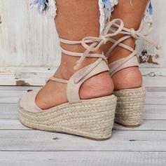 Bayanlar PU Sivri topuk Sandalet Takozlar Peep Toe topuk Ile Bağcıklı ayakkabı ayakkabı