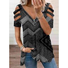 Распечатать Холодный прием С коротким рукавом Повседневная Блузы