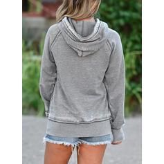 Print Figure Pockets Long Sleeves Hoodie