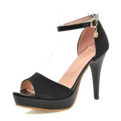 De mujer Cuero Tacón stilettos Sandalias Salón Plataforma Encaje con Hebilla zapatos