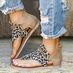 Mulheres Couro Tecido Sem salto Sandálias Sem salto Peep toe com Animal da Cópia Zíper sapatos