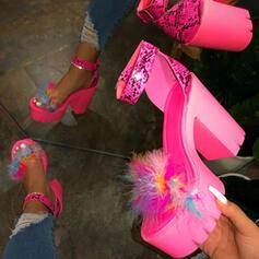 Pentru Femei Imitaţie de Piele Toc gros Încălţăminte cu Toc Înalt Puţin decupat în faţă cu Pene pantofi