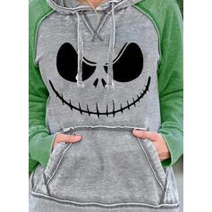 Print Halloween Pockets Long Sleeves Hoodie