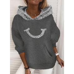 Sequins Pockets Long Sleeves Hoodie