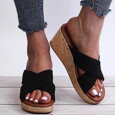 Сандалии Платформа клинья Peep Toe Домашние тапочки с Выдолбить Крест-накрест обувь
