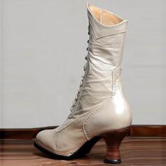 Pentru Femei PU Toc Mic Cizme Cizme până la jumătatea gambei cu Lace-up pantofi