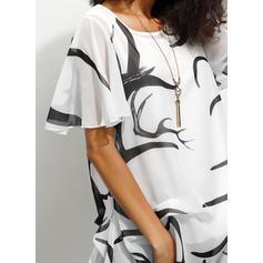 Potisk Kulatý Výstřih Krátké rukávy Neformální Elegant Bluze