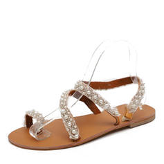 PU Düz topuk Sandalet Flats Peep Toe Toe Ring Ile yapay İnci ayakkabı