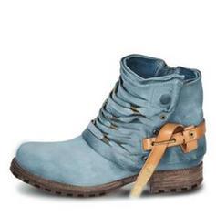 Kvinner PU Lav Hæl Støvler med Glidelås sko