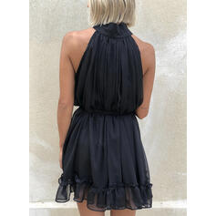 Solid Sleeveless A-line Above Knee Casual/Party Dresses