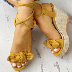 Women's Suede Wedge Heel Sandals Peep Toe With Bowknot shoes