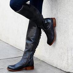 Kvinner PU Lav Hæl Støvler Knehøye Støvler med Blondér sko