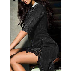 Lace/Solid 1/2 Sleeves Sheath Above Knee Little Black/Casual/Denim Dresses
