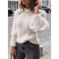 Solid Crew Neck Casual Sweaters